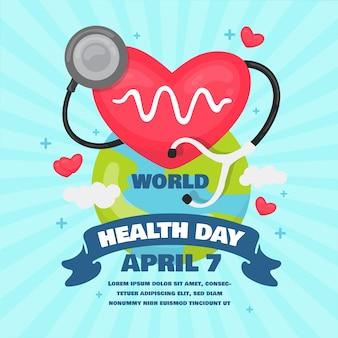 Światowy dzień zdrowia tło płaska konstrukcja
