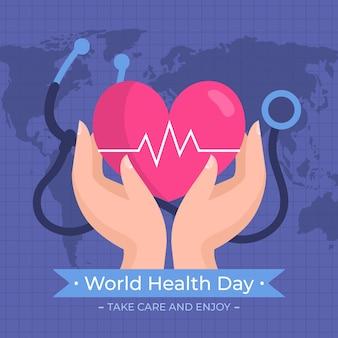 Światowy dzień zdrowia w płaskiej konstrukcji