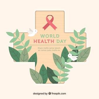 Światowy dzień zdrowia w tle z drewnianym krzyżem i naturalnych elementów