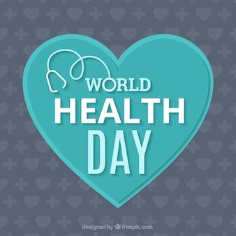 Światowy dzień zdrowia w tle z niebieskim sercem