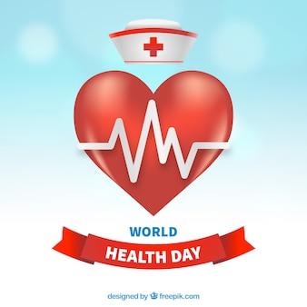 Światowy dzień zdrowia w tle z serca i pielęgniarka kapelusz