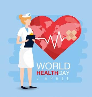 Światowy dzień zdrowia z kobietą norse i listą kontrolną