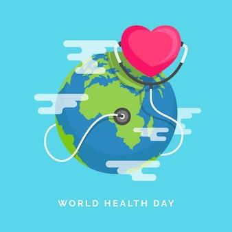 Światowy dzień zdrowia z planety ziemia w płaskiej konstrukcji