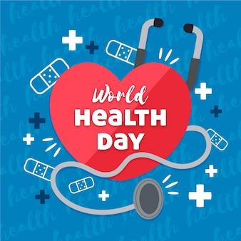 Światowy dzień zdrowia z sercem i stetoskopem