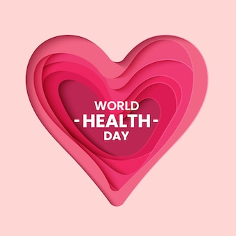 Światowy dzień zdrowia z wyciętym papierem w stylu serca