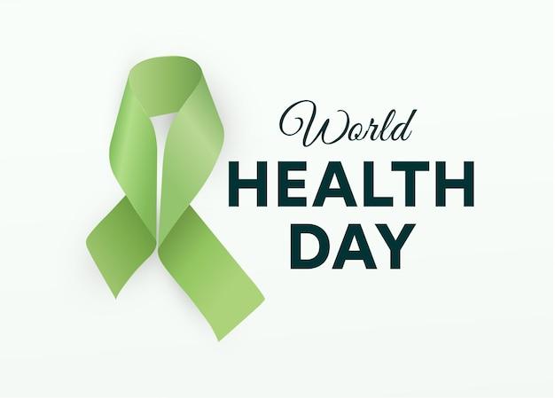 Światowy dzień zdrowia. zielona wstążka.