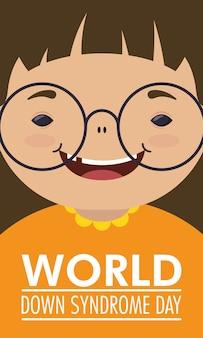 Światowy dzień zespołu downa z małą dziewczynką w okularach