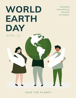 Światowy dzień ziemi plakat edytowalny szablon world