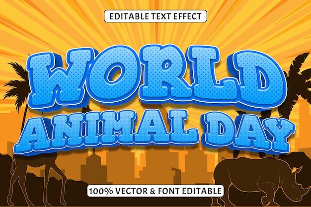 Światowy dzień zwierząt edytowalny efekt tekstowy 3 wymiary wytłoczony styl komiksowy
