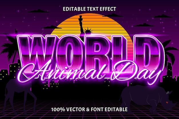 Światowy dzień zwierząt edytowalny efekt tekstu w stylu retro