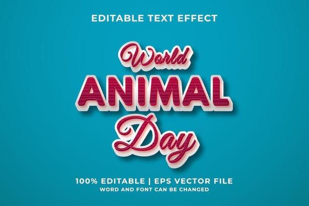 Światowy dzień zwierząt edytowalny szablon efektu tekstowego w stylu retro premium wektorów