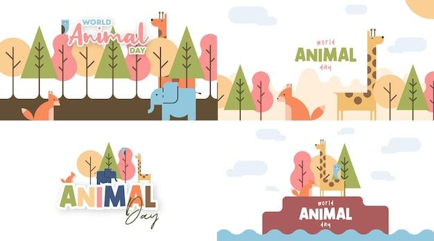 Światowy dzień zwierząt ilustracja w stylu płaskiej kreskówki