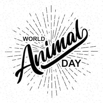 Światowy dzień zwierząt napis ilustracja wektorowazestaw kolorowych doodle na tle papieru