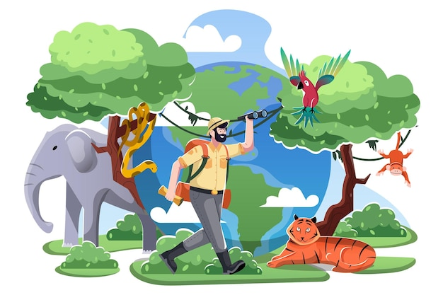 Światowy dzień zwierząt płaska ilustracja