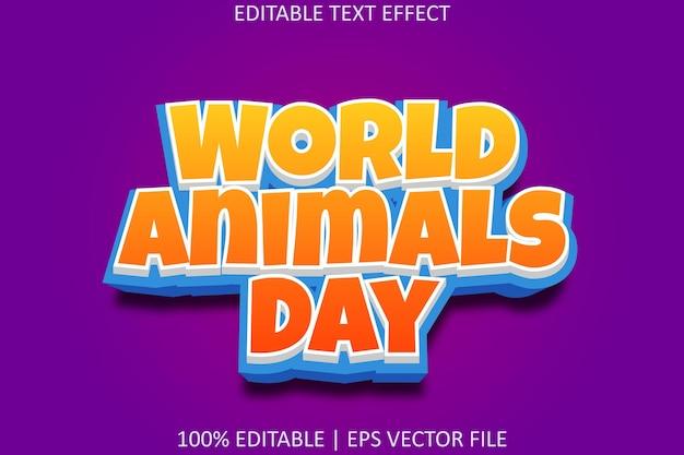 Światowy dzień zwierząt w stylu kreskówek edytowalny efekt tekstowy