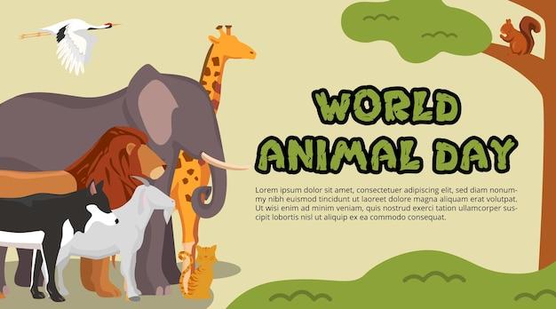 Światowy dzień zwierząt w tle ze zwierzętami w dżungli