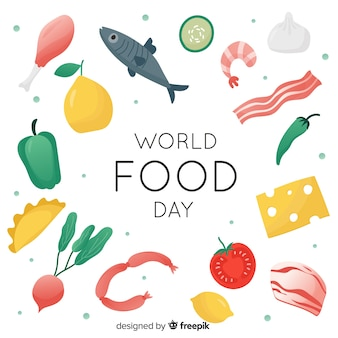 Światowy dzień żywności koncepcja z płaskim tle