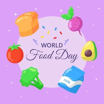 Światowy dzień żywności ręcznie rysowane transparent.