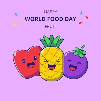 Światowy dzień żywności słodkie owoce kreskówek. zestaw maskotki ananasa, jabłka i mangostanu.