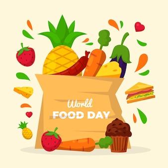 Światowy dzień żywności worek artykułów spożywczych