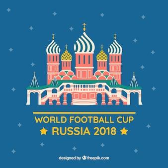 Światowy futbolowej filiżanki tło z rosyjskim budynkiem