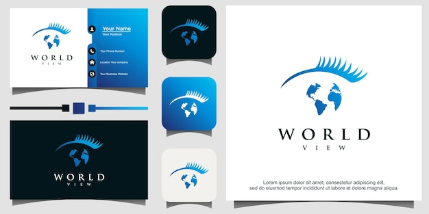 Światowy globus i eye global vision logo