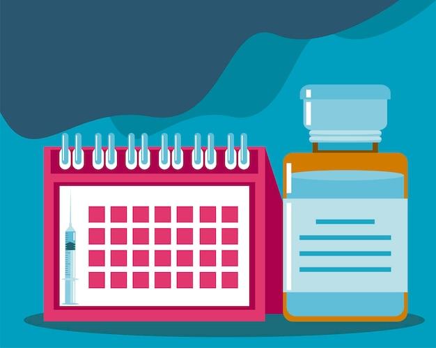 Światowy harmonogram szczepień i ilustracja fiolki medycyny