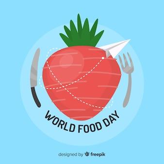 Światowy karmowego dnia tło z jabłkiem