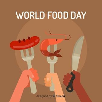 Światowy karmowy dnia tło z rozwidleniami