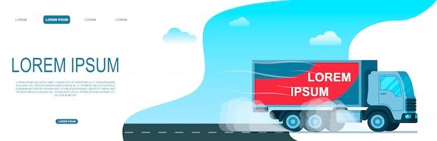 Światowy magazyn dostaw ciężarówka towarowa na drodze
