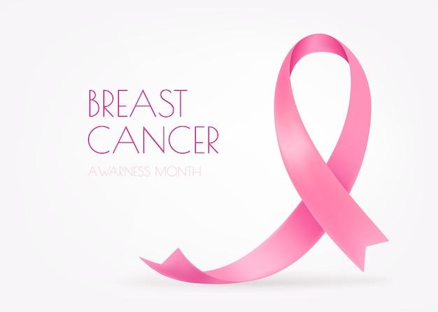 Światowy miesiąc świadomości raka piersi. różowa wstążka jedwabna na białym tle