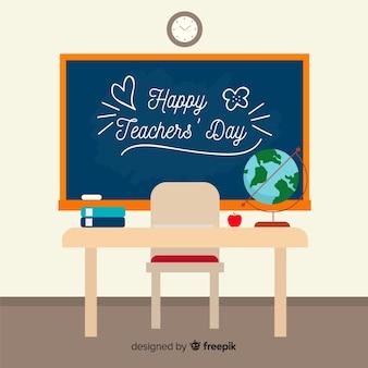 Światowy nauczyciela dnia tło z blackboard i biurkiem