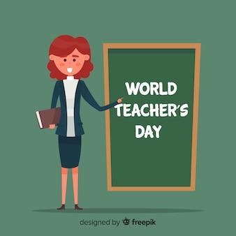Światowy nauczyciela dnia tło z żeńskim nauczycielem i blackboard