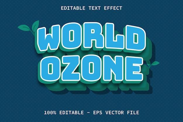 Światowy ozon z edytowalnym efektem tekstowym w stylu kreskówki