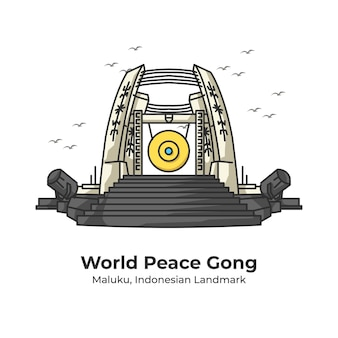 Światowy pokój gong indonezyjski punkt orientacyjny ładny ilustracja linia