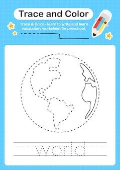 Światowy ślad i kolor dla przedszkolnego arkusza kalkulacyjnego dla dzieci do ćwiczenia umiejętności motorycznych
