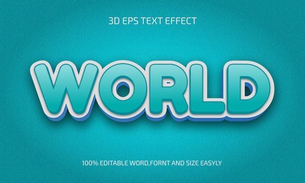 Światowy styl 3d edytowalnego efektu tekstowego