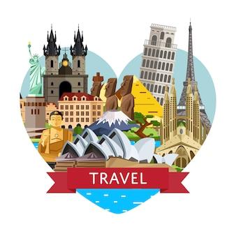 Światowy sztandar podróży ze słynnymi atrakcjami