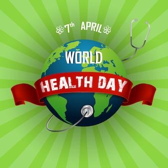 Światowy zdrowie dnia pojęcie z kulą ziemską i stetoskopem