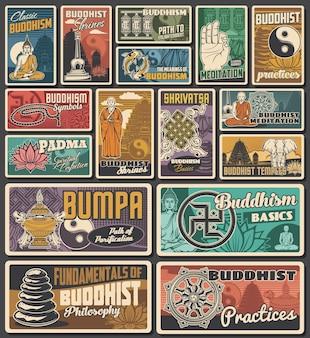 Świątynie buddyzmu, retro banery i plakaty medytacyjne. mnich buddyzmu, budda, yin i yang, niekończące się symbole węzłów i sauwastika, wazon ze skarbami, koło dharmy i stos kamyków, kwiat lotosu