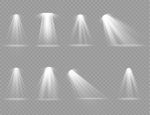 Świeć pionową wiązką projektora teatralnego. źródła światła, oświetlenie koncertowe, reflektory sceniczne.