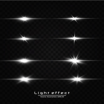 Świeć światłem gwiazd na przezroczystym tle. świecący efekt świetlny. zestaw błysków, świateł i błysków na przezroczystym tle.