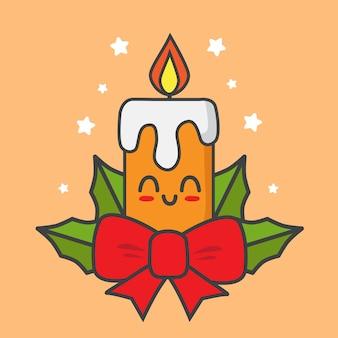 Świeca bożonarodzeniowa z wstążkami odizolowane na pomarańczowo