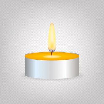 Świeca do herbaty lub świeca w pudełku. realistyczne światło świec lub płomień herbaty