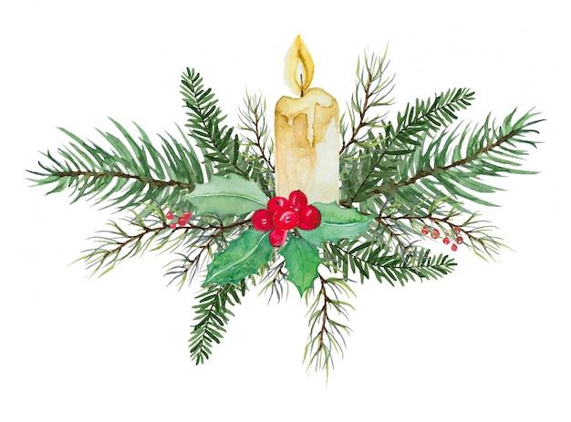 Świeca świąteczna z zielonymi liśćmi i czerwoną jagodą - dekoracja świąteczna