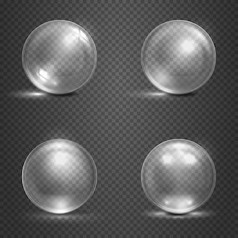 Świecą szklane kule 3d, magiczne kule, kryształowe kule. zestaw szklanej kulki przezroczystości