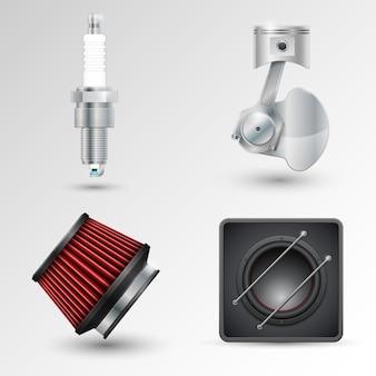 Świeca zapłonowa, mechanizm korbowy, filtr i subwoofer samochodowy