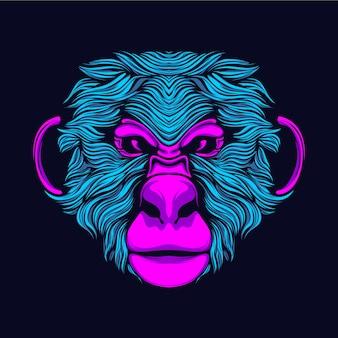 Świecąca głowa małpy