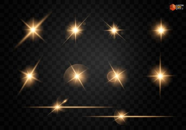 Świecąca gwiazda, cząsteczki słońca i iskry z efektem podświetlenia, kolorowe światła bokeh błyszczą i cekiny.