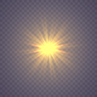 Świecąca gwiazda, cząsteczki słońca i iskry z efektem rozświetlenia, kolorowe światła bokeh z brokatem i cekinami.